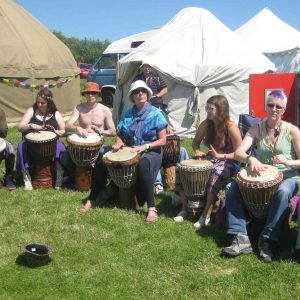 Drumming session at Wickerman festival 2011 in Galloway Scotland